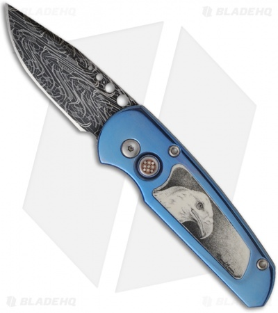 "Protech One-of-a-Kind Custom Runt 2 Titanium Automatic Knife (1.9"" Damascus)"
