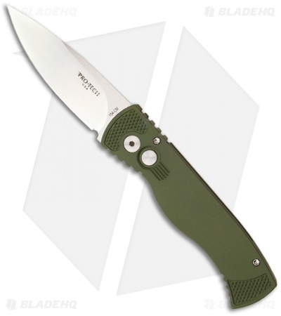 "Protech TR-2 Green Tactical Response 2 Automatic Knife (3"" Satin Plain)"